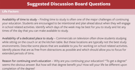 Suggested Discussion Board Questions