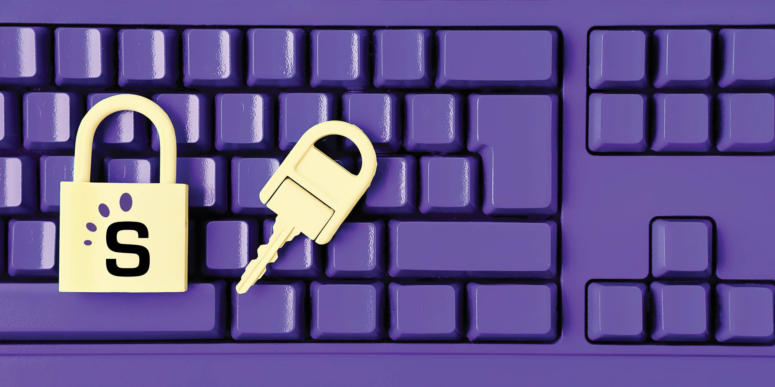 Purple keyboard with yellow lock and key
